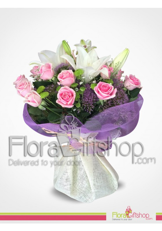 Lovely Pink Roses And White Lilies Bouquet Send Flowers Balloons