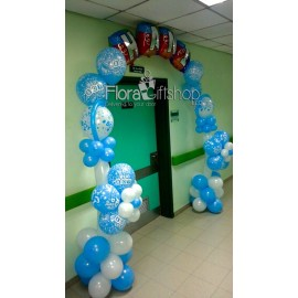 Two Flowers Baby Arch with Name Balloons