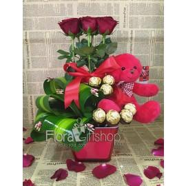 Red Teddy Bear Hugs Roses