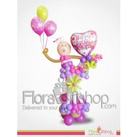 Flora Baby Girl Birthday Balloons