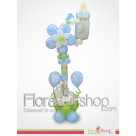 Flower & baby blue Bottle Balloons