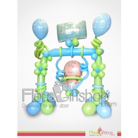 Swinging Baby boy balloons