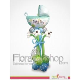Blue & Green Stroller Balloons