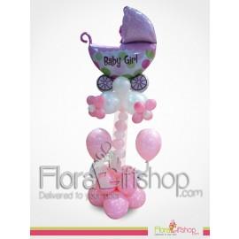 Baby Girl Purple Stroller Balloons