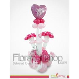 Baby Girl's Huge Heart Balloons
