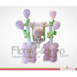 Swinging Baby Girl Balloons