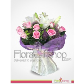 Lovely Pink roses and white lilies bouquet