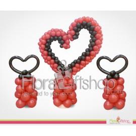 Three Big Hearts Balloons