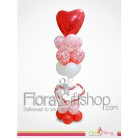 White & Red Heart Balloons