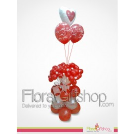 Love Red Flowers Balloons