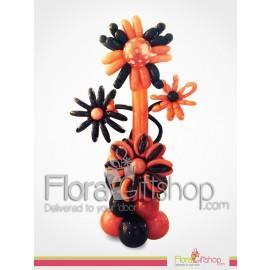 Orange & Black Standing Flowers Balloons