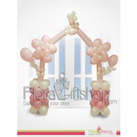 white & pink Door decorations Balloons