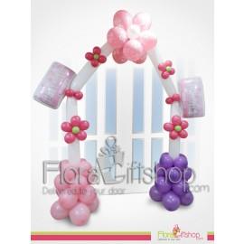 Pink & Purple Billows & Flower Door Decoration Balloons