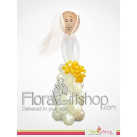 Bride with yellow Flower wedding bouquet Balloons