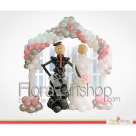 Bride & Groom Door Decoration in Pink & white Balloons