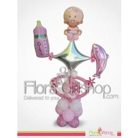 Silver Star Baby Girl Balloons