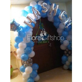 Blue and Silver Name Arch Balloons