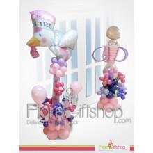 بالونات لمداخل الابواب على شكل طفلة صغيرة وطائر كبير باللون الوردي